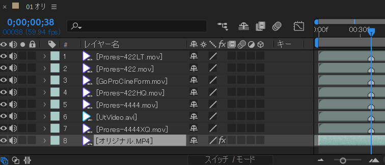 ASfter Effects 画質比較する
