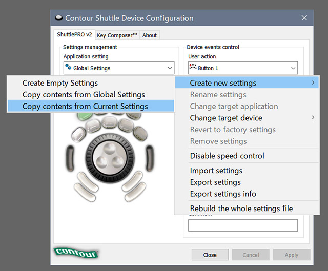 Shuttlepro2 create new setting