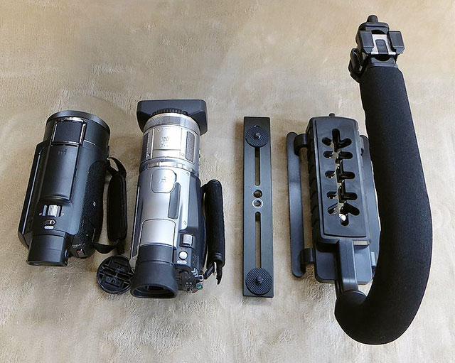 FDR-AX55とHDR-HC1とストロボブラケット